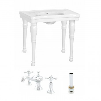 White Belle Bathroom Console Sink Combo Set with Faucet 76831grid