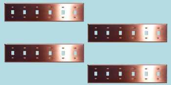 <PRE>4 Switchplate Brushed Solid Copper Six Toggle </PRE>zoom2