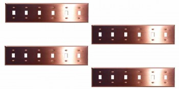 <PRE>4 Switchplate Brushed Solid Copper Six Toggle </PRE>zoom1