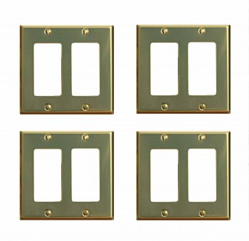 4 Switchplate Bright Solid Brass Double GFI outlet plate Wall Plates Switch Plates