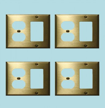 <PRE>4 Switchplate Brushed Solid Brass Outlet GFI </PRE>zoom2