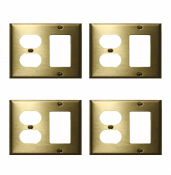 <PRE>4 Switchplate Brushed Solid Brass Outlet GFI </PRE>zoom1