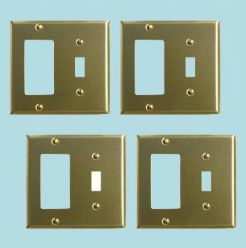 <PRE>4 Switchplate Brushed Brass GFI Toggle </PRE>zoom2