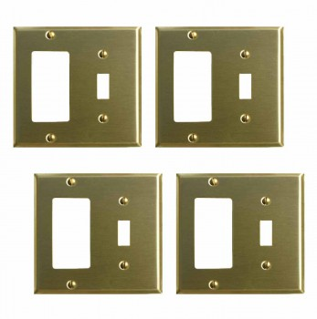 <PRE>4 Switchplate Brushed Brass GFI Toggle </PRE>zoom1