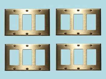 4 Switchplate Brushed Solid Brass Triple GFI Switch Plate Wall Plates Switch Plates