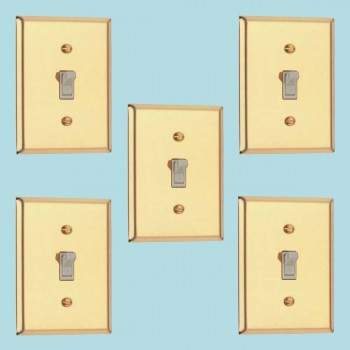 <PRE>5 Switch Plate Bright Solid Brass Single Toggle Dimmer </PRE>zoom2