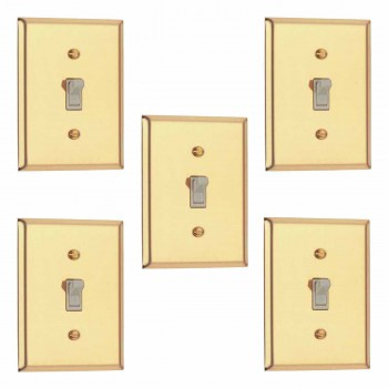 <PRE>5 Switch Plate Bright Solid Brass Single Toggle Dimmer </PRE>zoom1