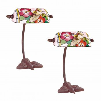 2 Table Lamp Bronze Bird  Style Lamp Stained Glass 7.5 Lamp Table Lights Lamps