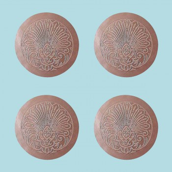 <PRE>Chair Seats Tan Leather Round 12&quot; Dia Embossed Set of 4 </PRE>
