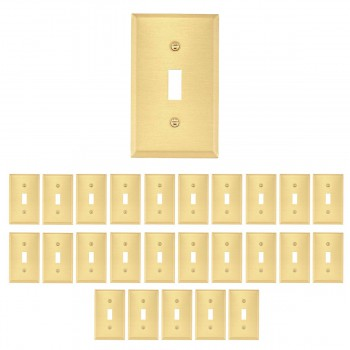 <PRE>25 Switch Plate Brushed Brass Single Toggle/Dimmer </PRE>zoom1