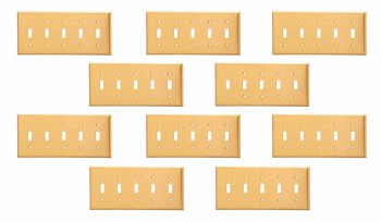 10 Switch Plate Brushed Solid Brass Five Toggle Switch Plate Wall Plates Switch Plates