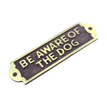 Polished Brass Plate Be Aware Of The Dog Sign Brass Plaques Pack of 10 Brass Plaques Brass Plate Brass Signs