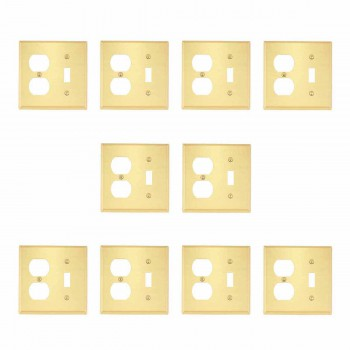 10 Switch Plate Brushed Solid Brass ToggleOutlet Switch Plate Wall Plates Switch Plates