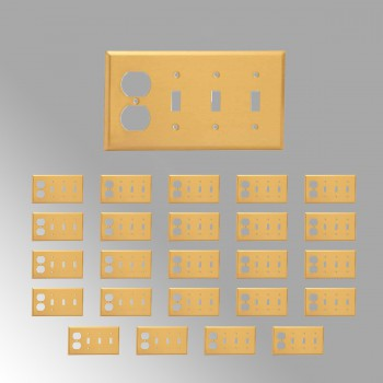 <PRE>25 Switch Plate Brushed Brass Triple Toggle Outlet </PRE>zoom2