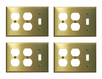 <PRE>4 Switchplate Brushed Solid Brass Toggle Double Outlet </PRE>zoom1