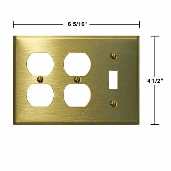 spec-<PRE>4 Switchplate Brushed Solid Brass Toggle Double Outlet </PRE>