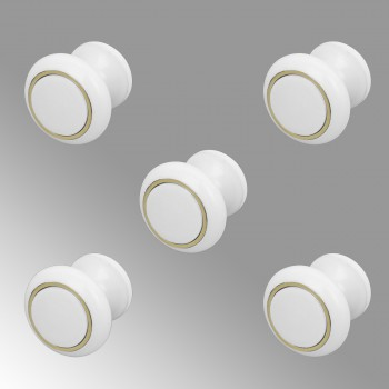 <PRE>Cabinet Knobs White Enamel Over Solid Brass 1 Inch diameter 5 Pack</PRE>zoom1