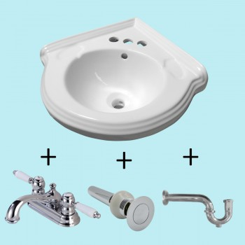 Corner Wall Mount Sink White Classy Design Basin with 4 Faucet, Drain and PTrap Space Saving Small Tiny Petite Antique Colonial Traditional Modern White Corner Wall Mount Hung Hanging Bathroom
