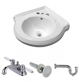 Corner Wall Mount Sink White Classy Design Basin with 4