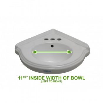 "spec-<PRE>Corner Wall Mount Sink White Classy Design Basin with 4"" Faucet</PRE>"