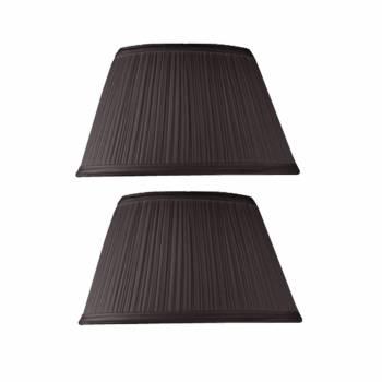 2 Black Fabric Lamp Shade Drum 7 Top x 12 Bottom Pair