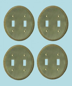 <PRE>4 Solid Brass Switchplate Double Toggle Oval Braided </PRE>zoom2