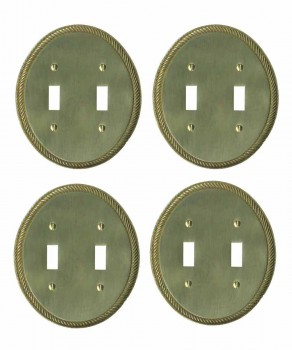4 Bright Solid Brass Oval Braided Double Toggle switch plate