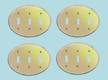 <PRE>4 Solid Brass Triple Toggle Switchplate Oval Braided </PRE>zoom2