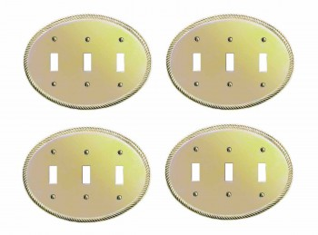 4 Bright Solid Brass Oval Braided Triple Toggle switch plate