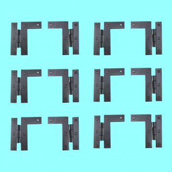"<PRE>Pair Left and Right H-L Wrought Iron Cabinet Hinge 3.5inch H, 3/8"" Offset Pack of 6</PRE>zoom2"