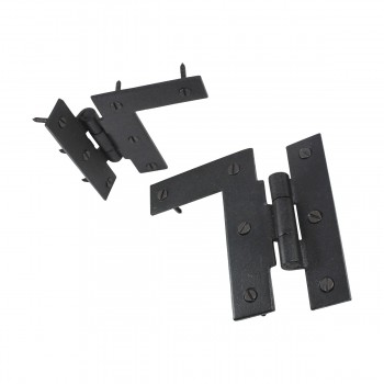 "<PRE>Pair Left and Right H-L Wrought Iron Cabinet Hinge 3.5inch H, 3/8"" Offset Pack of 6</PRE>zoom4"