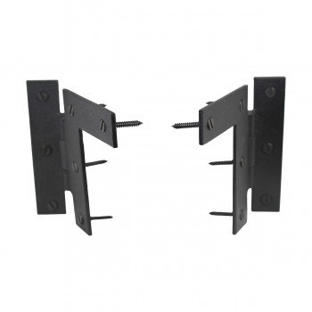 "<PRE>Pair Left and Right H-L Wrought Iron Cabinet Hinge 3.5inch H, 3/8"" Offset Pack of 6</PRE>zoom3"