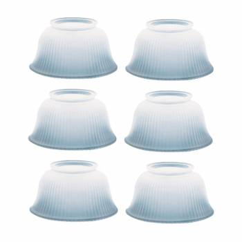 6 Lamp Shade White Glass Ribbed 3 5/8 in. H x 4 in. fit