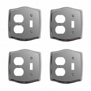 4 Switchplate Chrome ToggleOutlet Switch Plate Wall Plates Switch Plates