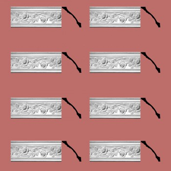 Renovators Supply Cornice White Urethane Bridge Of Flowers Ornate  8 Pieces Totaling 616 Length White PrePrimed Urethane Crown Cornice Molding Cornice Crown Home Depot Ekena Millwork Molding Wall Ceiling Corner Cornice Crown Cove Molding