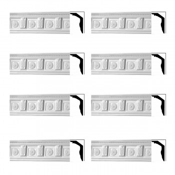 Renovators Supply Cornice White Urethane Tyrese Ornate Design 8 Pieces Totaling 598 Length White PrePrimed Urethane Crown Cornice Molding Cornice Crown Home Depot Ekena Millwork Molding Wall Ceiling Corner Cornice Crown Cove Molding