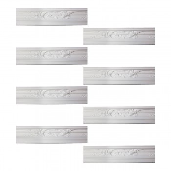 Renovators Supply Cornice White Urethane Julia Ornate Design 8 Pieces Totaling 748 Length White PrePrimed Urethane Crown Cornice Molding Cornice Crown Home Depot Ekena Millwork Molding Wall Ceiling Corner Cornice Crown Cove Molding