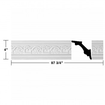 "spec-<PRE> White Urethane Foam Palso - Cornice - Ornate Design 8 Pieces Totaling 782"" Length</PRE>"