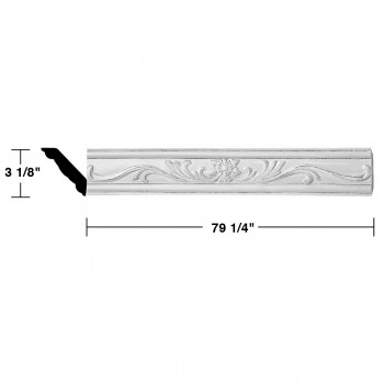 "spec-<PRE>Renovator's Supply Ornate Cornice White Urethane Ava Design 8 Pieces Totaling 634"" Length</PRE>"