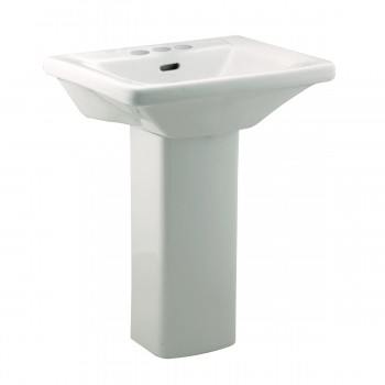 Renovators Supply Child White Pedestal Sink with 4 Faucet, Drain and Ptrap White Washroom Pedestal Sink Glossy Restroom Sinks small pedestal sink
