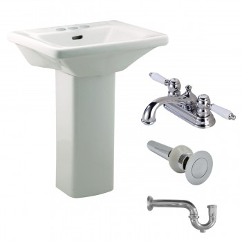 Renovator's Supply Child White Pedestal Sink with 4