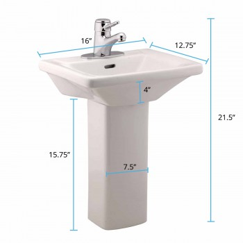 "spec-<PRE> Child White Pedestal Sink with 4"" Faucet, Drain and P-trap</PRE>"