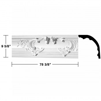 "spec-<PRE>Renovator's Supply Cornice White Urethane Flora Magnificence Ornate  8 Pieces Totaling 627"" Length</PRE>"