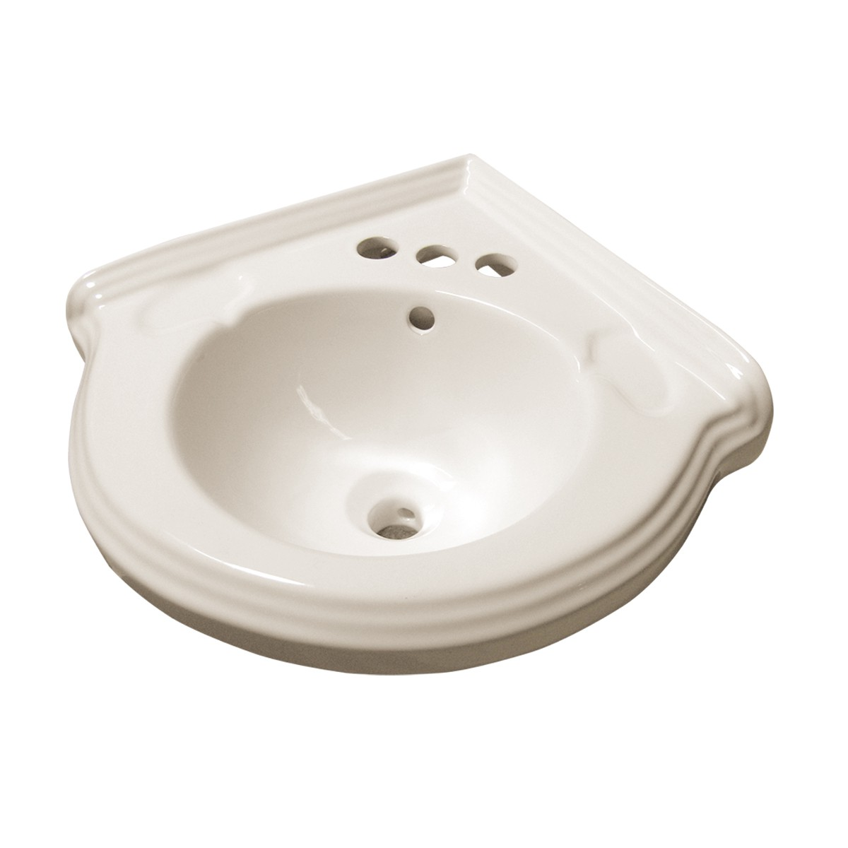 Biscuit Vitreous China Corner Wall Mount Sink with 4 Faucet, Drain and Ptrap Wall Mount Bathroom Sink Small Wall Mount Corner Sink Wall Mounted Wash Basin