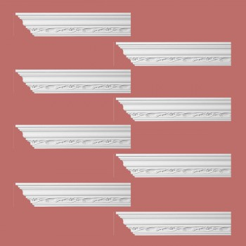 <PRE>Renovator's Supply Ornate Cornice White Urethane Elisabetta Design 8 Pieces Totaling 768inch Length</PRE>zoom2