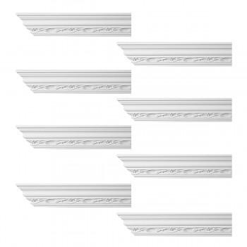 Renovators Supply Ornate Cornice White Urethane Elisabetta Design 8 Pieces Totaling 768 Length White PrePrimed Urethane Crown Cornice Molding Cornice Crown Home Depot Ekena Millwork Molding Wall Ceiling Corner Cornice Crown Cove Molding
