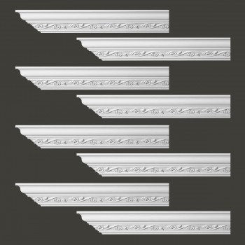 Renovators Supply Ornate Cornice White Urethane Lunetta Design 8 Pieces Totaling 768 Length White PrePrimed Urethane Crown Cornice Molding Cornice Crown Home Depot Ekena Millwork Molding Wall Ceiling Corner Cornice Crown Cove Molding