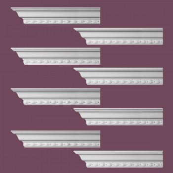 <PRE>Renovator's Supply Cornice White Urethane Exeter Ornate Design 8 Pieces Totaling 768inch Length</PRE>zoom2
