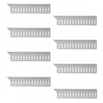 Renovators Supply Ornate Cornice White Urethane Wetherby Design 8 Pieces Totaling 768 Length White PrePrimed Urethane Crown Cornice Molding Cornice Crown Home Depot Ekena Millwork Molding Wall Ceiling Corner Cornice Crown Cove Molding