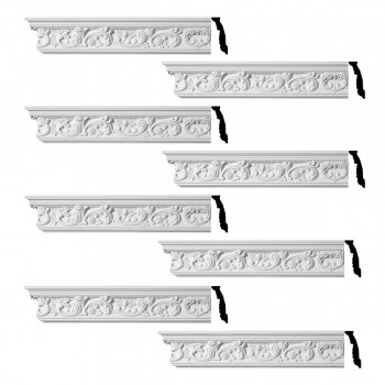 Renovators Supply Ornate Cornice White Urethane Cannes Design 8 Pieces Totaling 752 Length White PrePrimed Urethane Crown Cornice Molding Cornice Crown Home Depot Ekena Millwork Molding Wall Ceiling Corner Cornice Crown Cove Molding